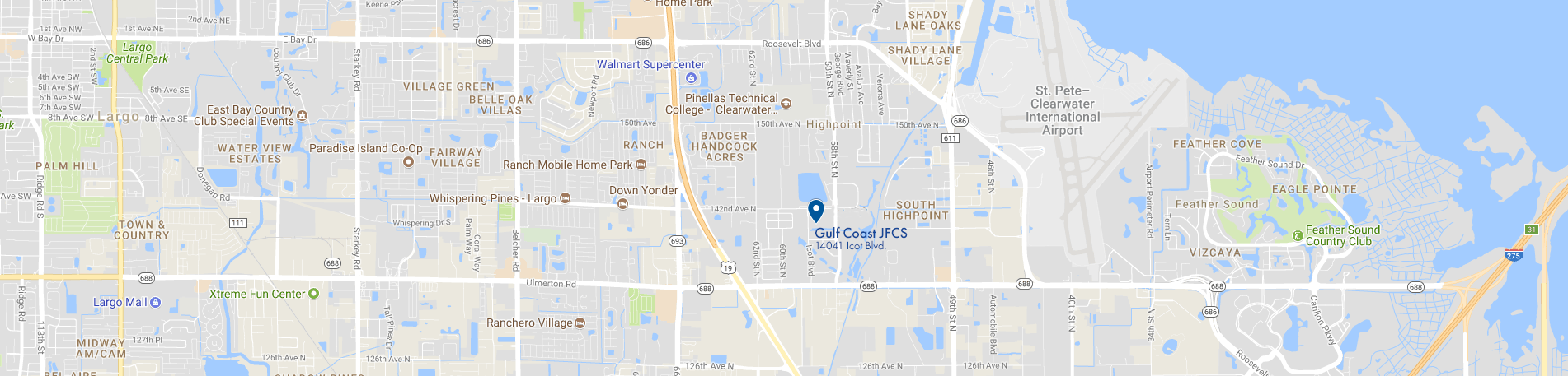 Map, location of Gulf Coast JFCS office