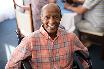 Photo of smiling senior with disabilities