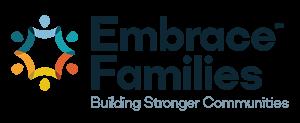 """Embrace Families logo, """"Building Stronger Communities"""""""