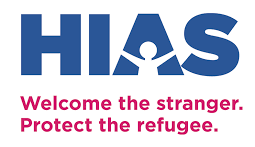 "HIAS logo, ""Welcome the stranger. Protect the refugee."""
