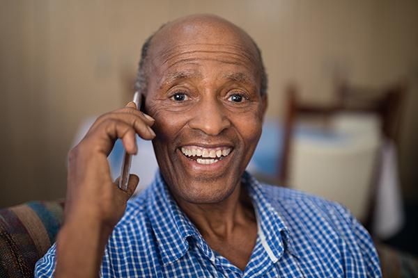senior man enjoying a chat on the phone