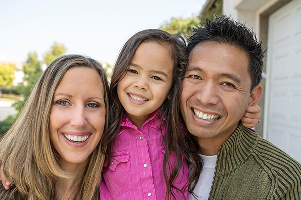 multiracial happy family with child